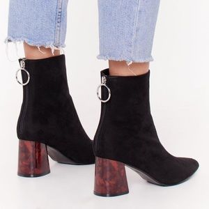 Faux-Suede Zip Ankle Boots with Block Heel